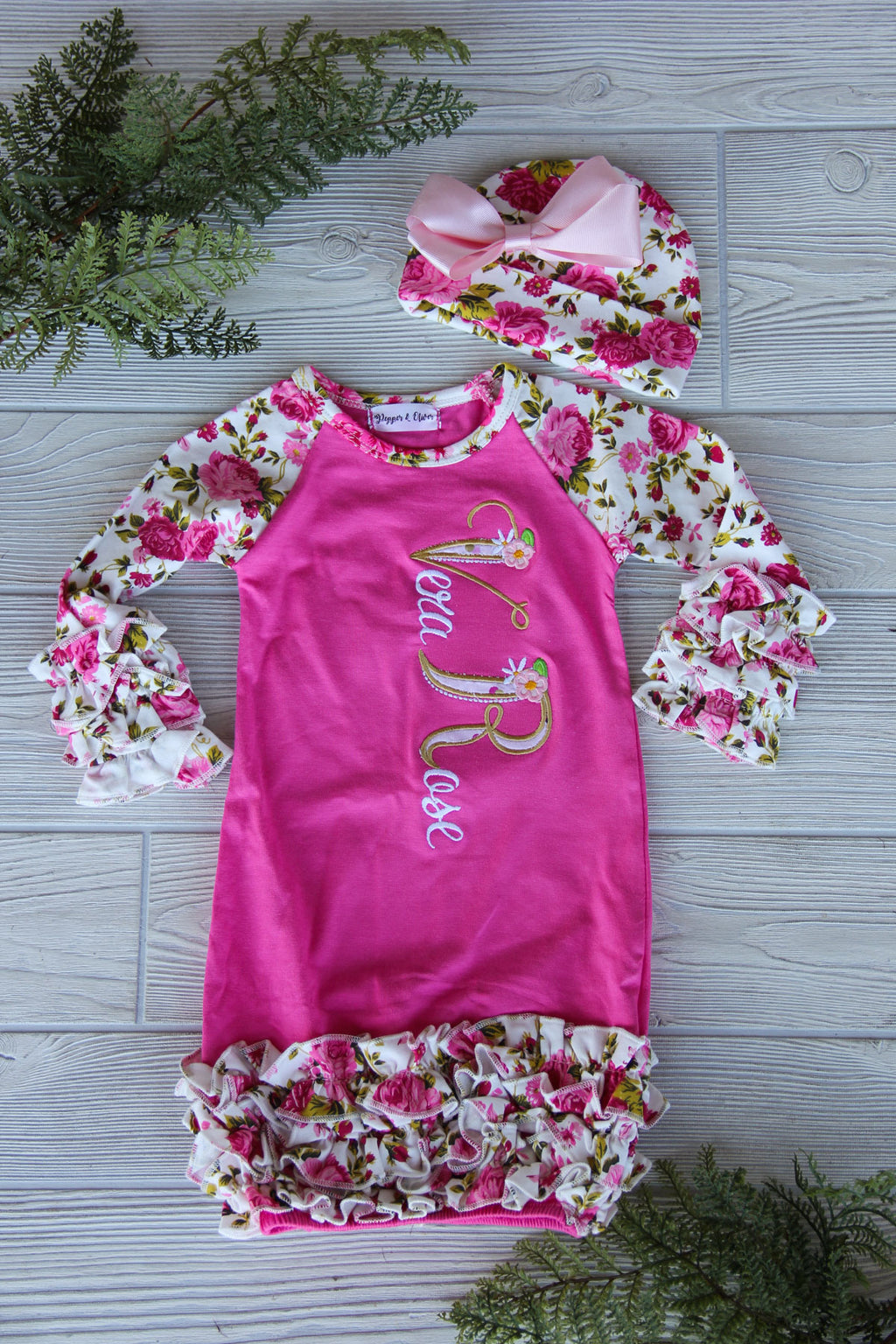 Floral Newborn Gown with Name