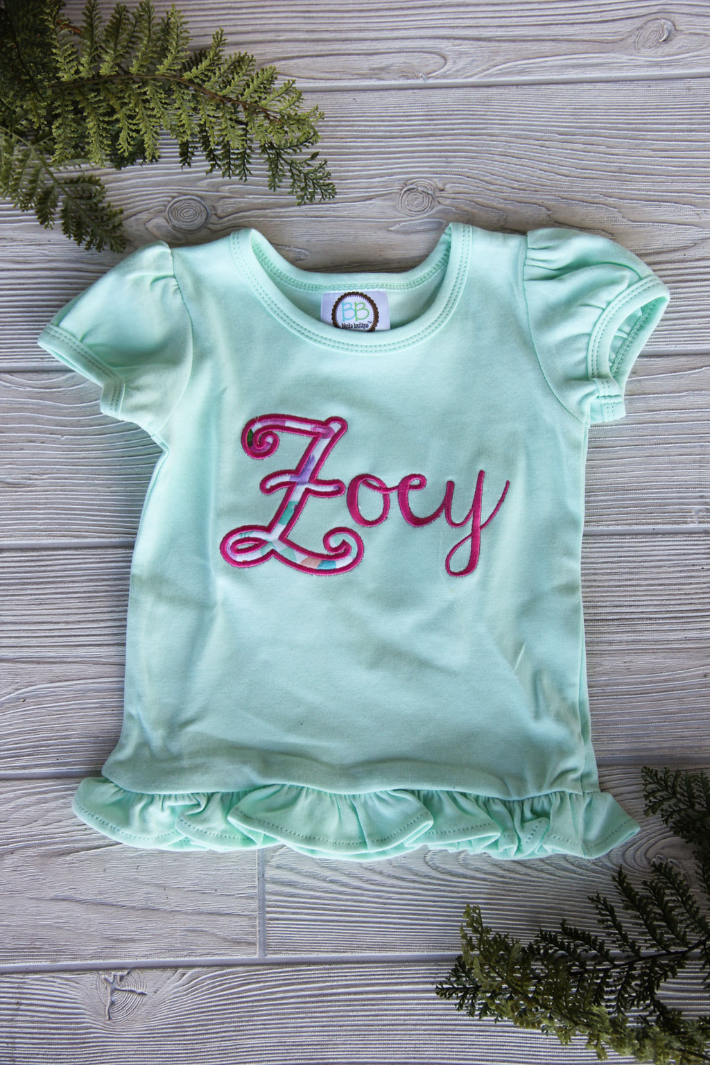 Girls Ruffle Tee with Name
