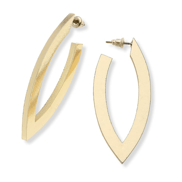 "La Boutique Canvas Jewelry Kate V Earrings in Brushed Gold or Silver, 2.25""L x 1.0""W"