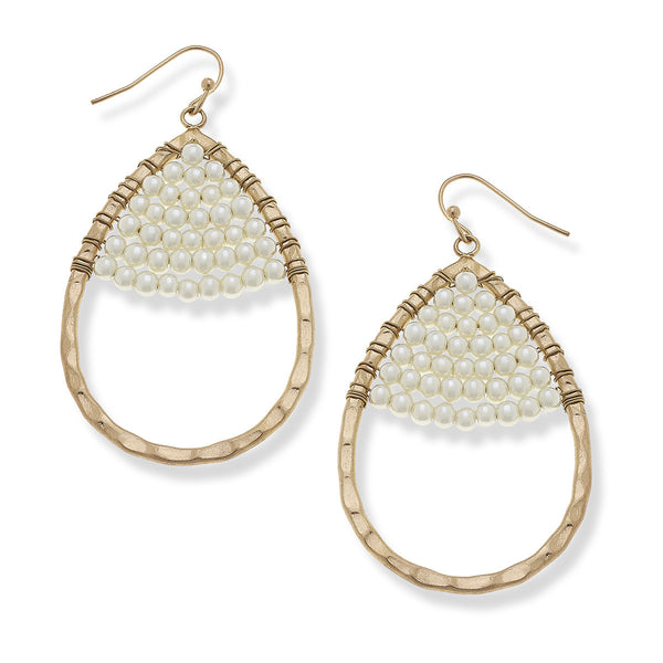 La Boutique Canvas Jewelry Makayla Teardrop Earrings in Ivory Pearl