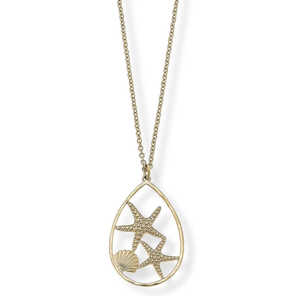 "La Boutique Canvas Jewelry Starfish Pendant Necklace in Worn Gold, 30"" Adjustable"