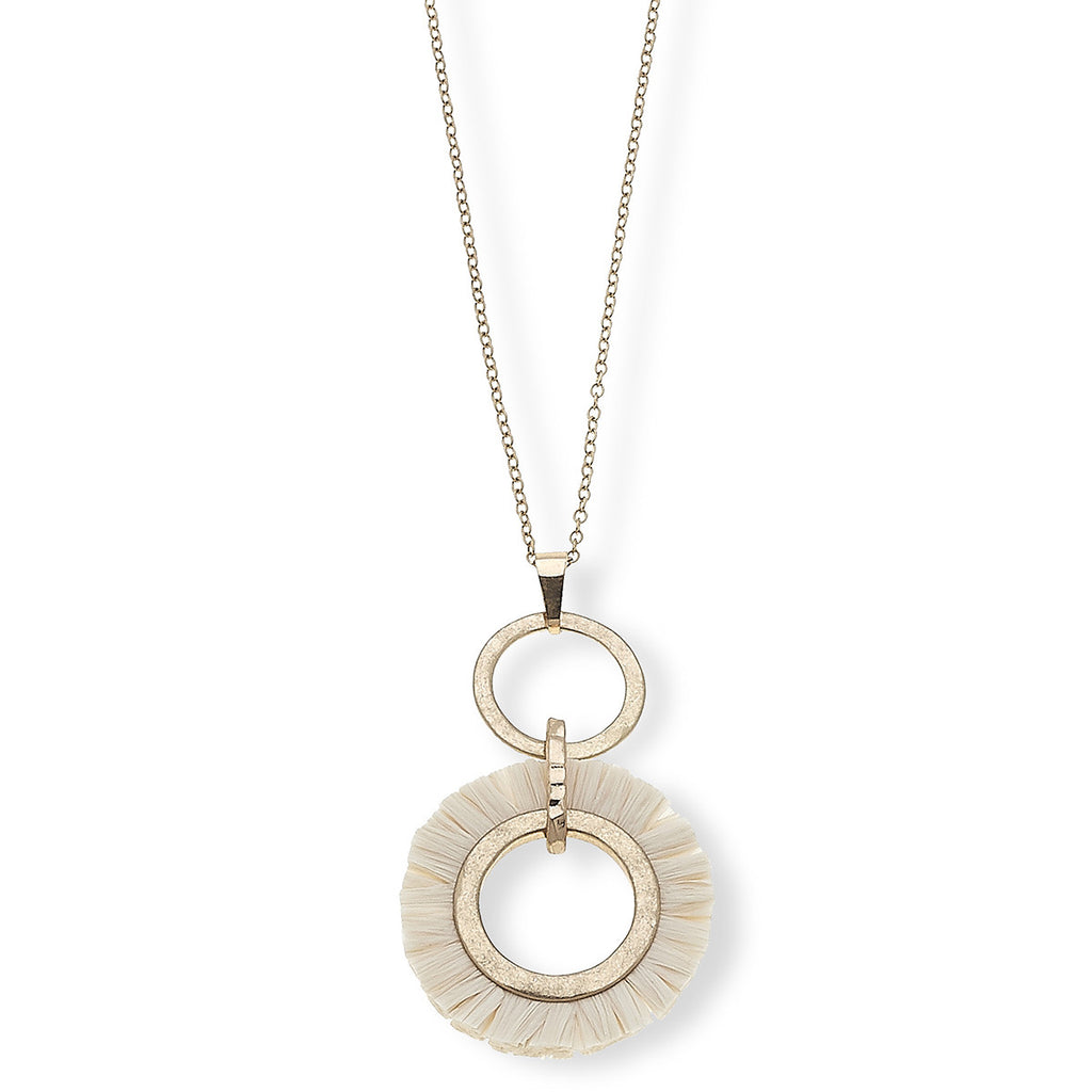 "Canvas Style Jewelry Taryn Pendant Necklace in Grey Raffia, 30"" Adjustable"