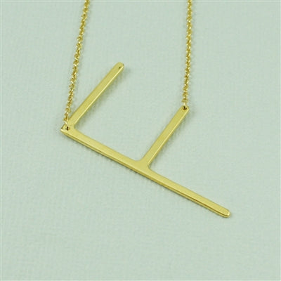 Gold Medium Sideways Initial Necklace by Cool and Interesting