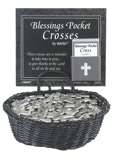"Blessings Pocket Cross Charm EL6570 Metal 1"" H avg, 6 To Choose From:"