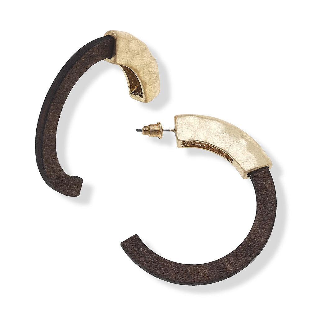 "Canvas Style Jewelry Giana Hoop Earrings in Carved Wood, 1.75""L x 1.75""W"