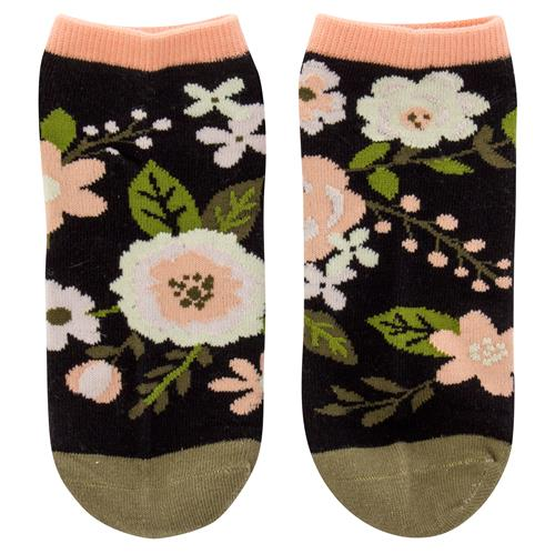 Ankle Socks by Karma Gifts Charcoal Flowers
