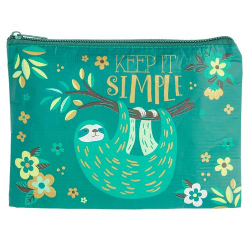 Recycled Carry All Zippered Pouch by Karma Gifts Sloth