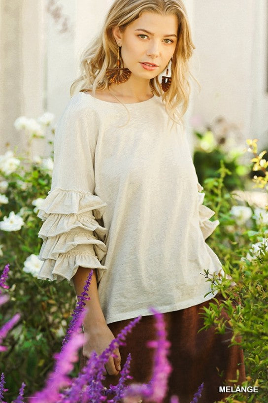 Layered Ruffle Sleeve Top by Umgee La Boutique