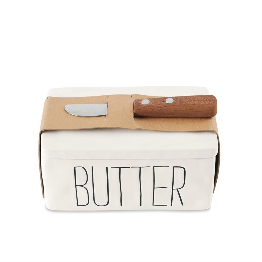 Bistro Butter Dish Set by Mud Pie La Boutique
