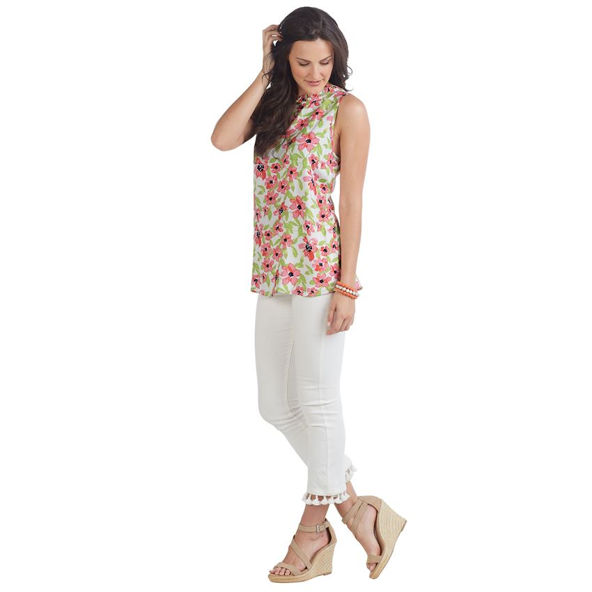 Mud Pie Callie Ruffle Neck Top in Floral Print
