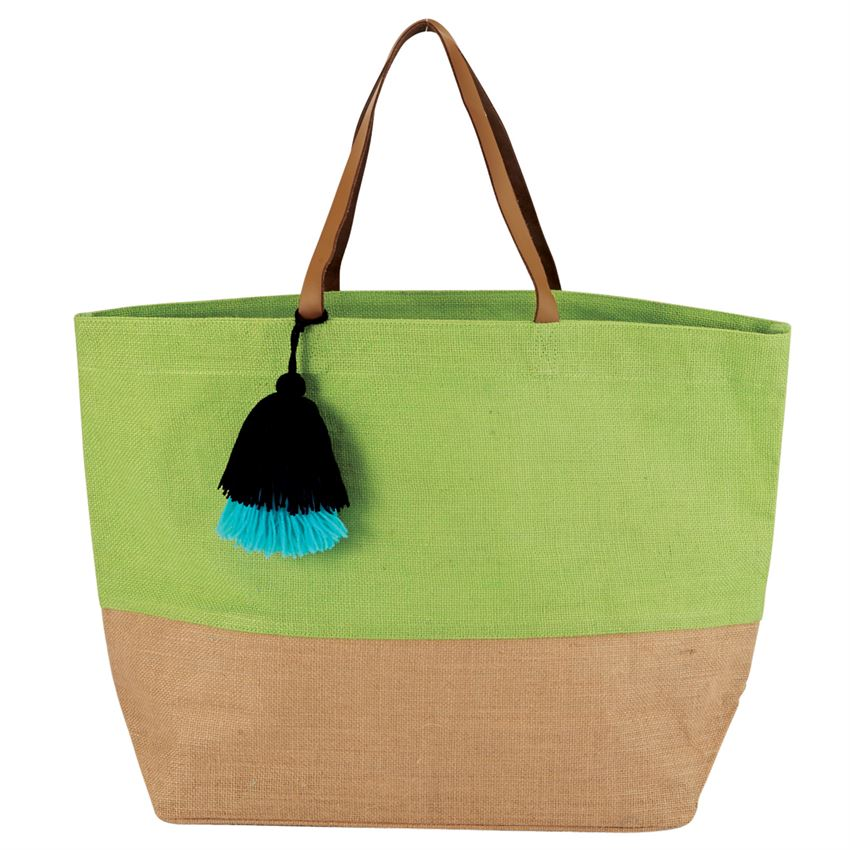 Mud Pie Color Block Jute Tote Bag