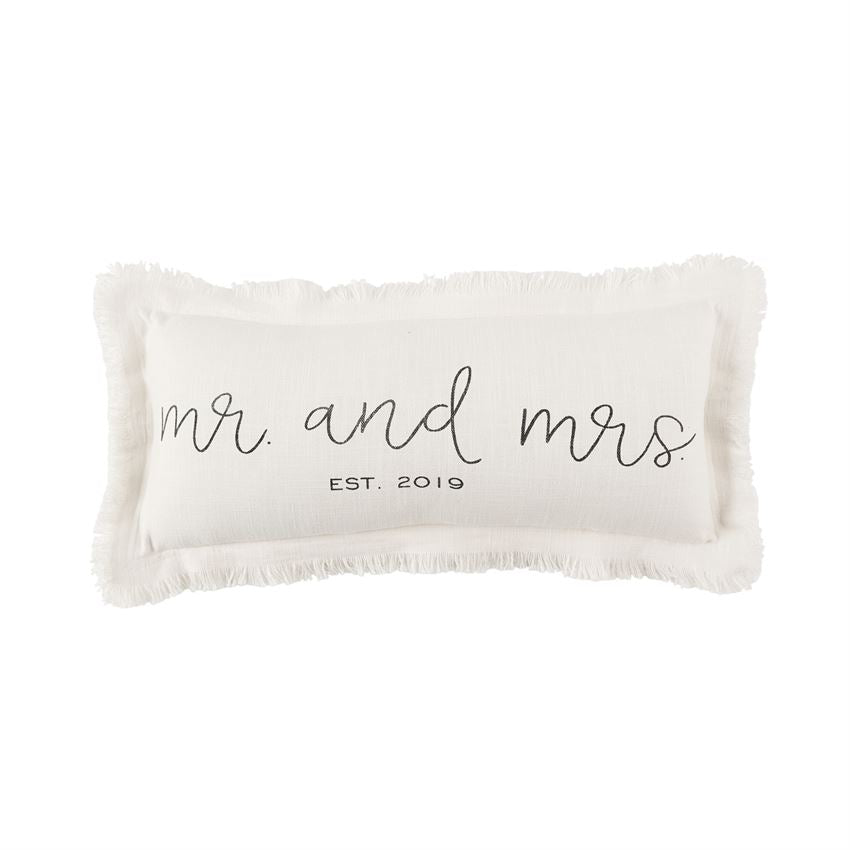 Est 2019 Frayed Lumbar Pillow Mr & Mrs 2019 by Mud Pie