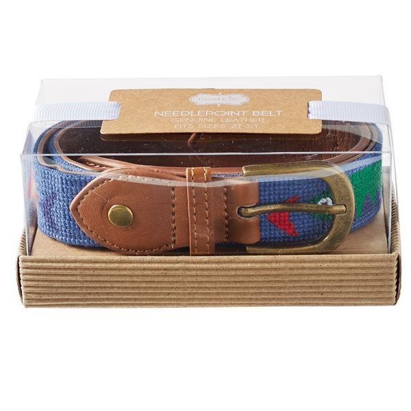 Mud Pie Fish Needlepoint Belt for Boys