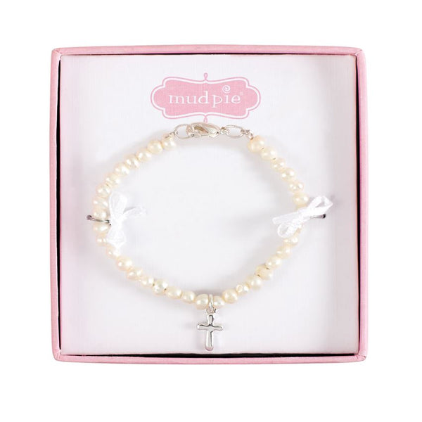 Mud Pie Freshwater Pearl Bracelet with Sterling Silver Cross for Baby