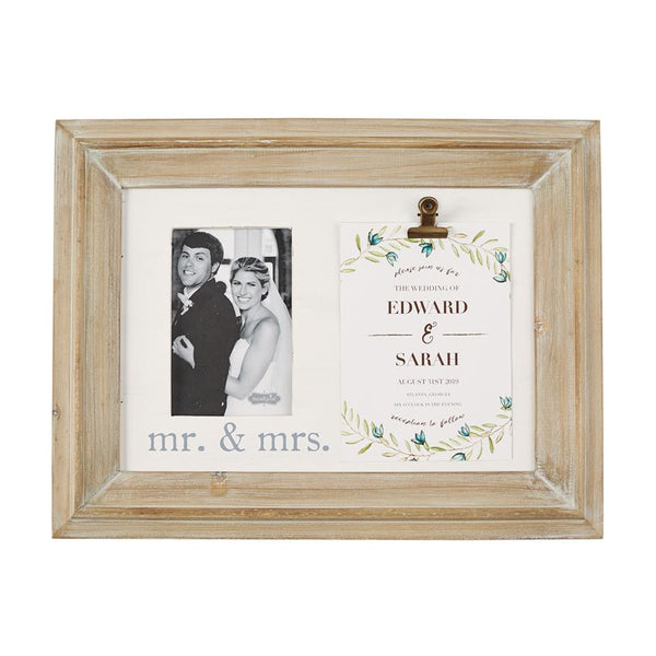 Mr & Mrs Binder Clip Invitation Frame by Mud Pie La Boutique