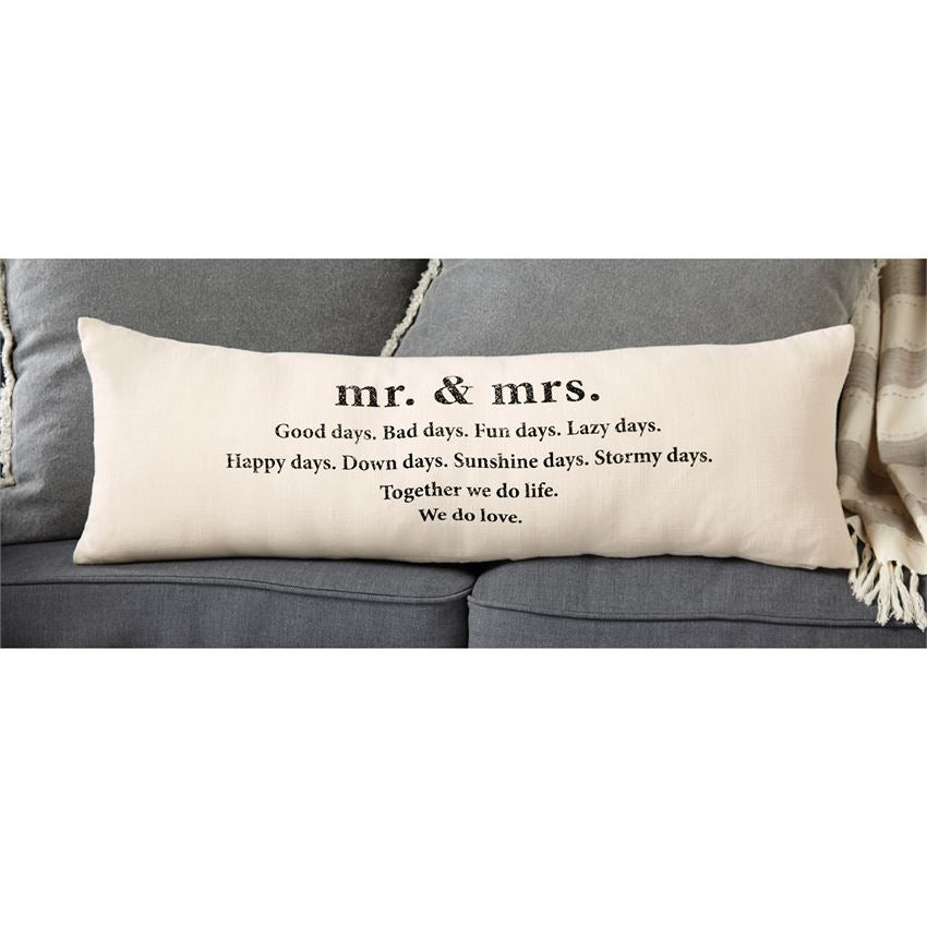 Mud Pie Mr. & Mrs. Definition Canvas Lumbar Pillow