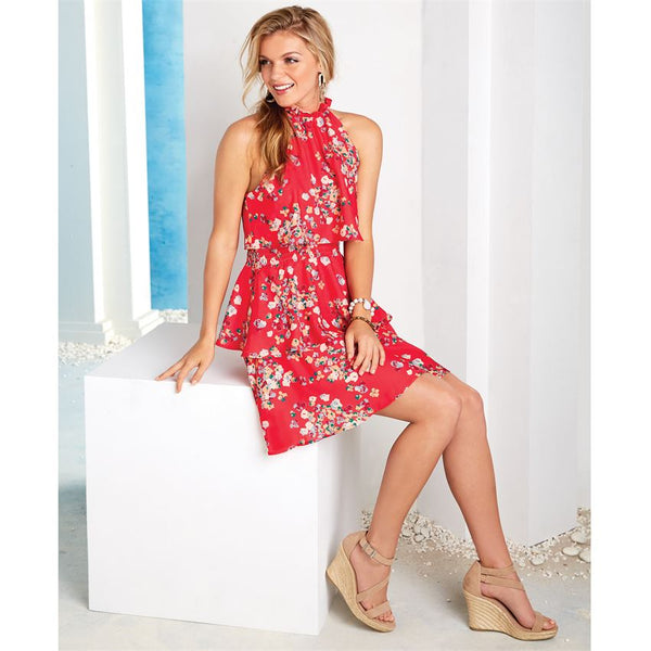 Mud Pie Pacey Ruffle Flounce Dress In Red Petal Print