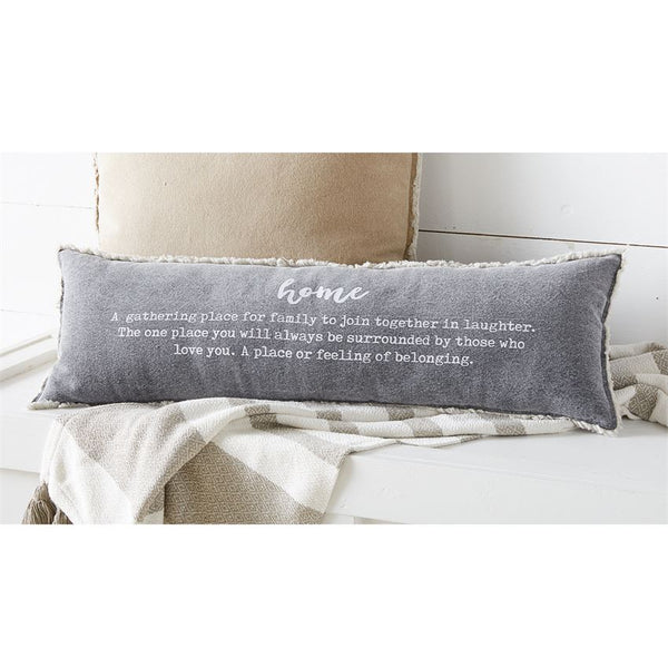 Mud Pie Home Definition Washed Canvas Fray Pillow