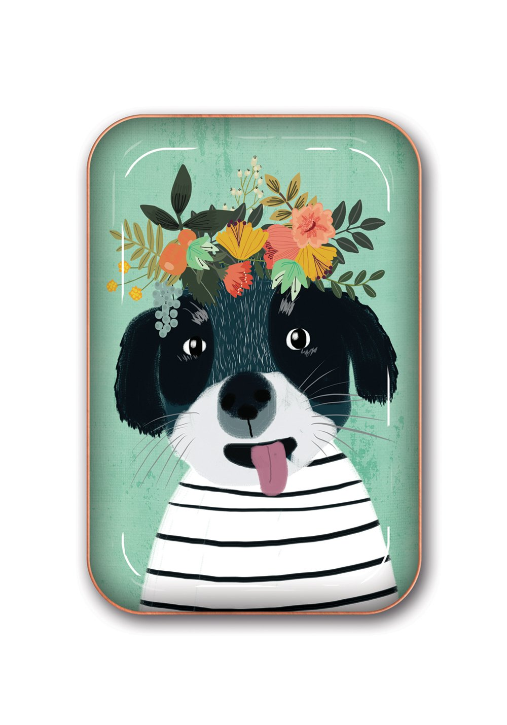La Boutique Flower Dog Metal Catchall Tray by Studio Oh!