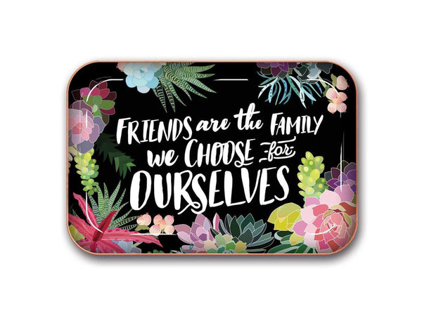 La Boutique Friends Are the Family We Choose Succulents Metal Catchall Tray by Studio Oh!