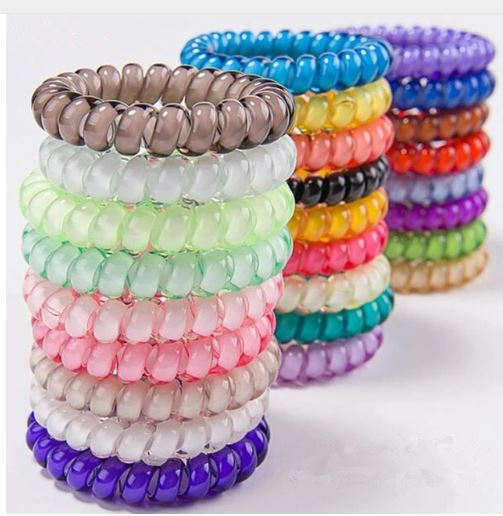 Telephone Wire Coil Elastic Band Hair Tie Hairband Ponytail Holder Scrunchies