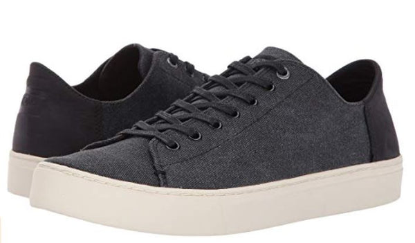 TOMS Men's Lenox Black Washed Canvas/Leather Oxford