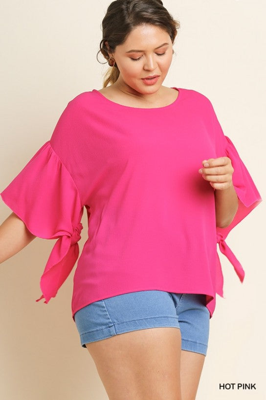Basic Ruffle Sleeve Round Neck Plus Size Top with Inner Sleeve Ties by Umgee La Boutique