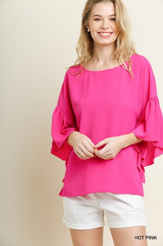 Basic Ruffle Sleeve Round Neck Top with Inner Sleeve Ties by Umgee La Boutique