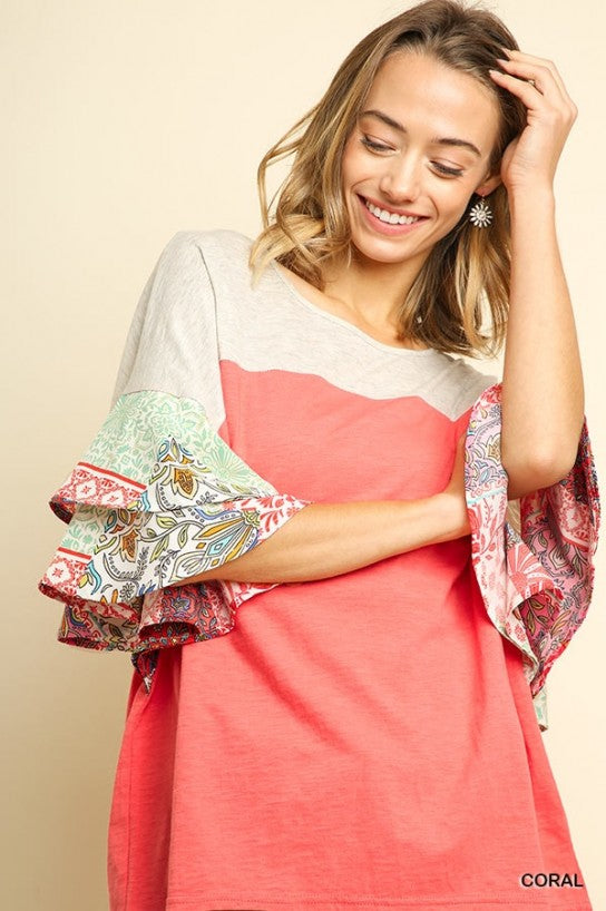 Colorblock Top With Multicolor Paisley Print Layered Bell Sleeves by Umgee La Boutique