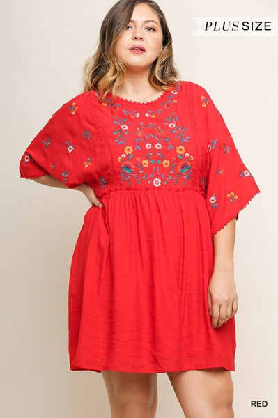 Floral Embroidered Wide Sleeve Babydoll Plus Size Dress by Umgee