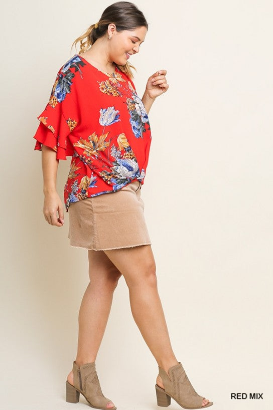Floral Print Gathered Top with Layered Ruffle Sleeves Plus Size by Umgee La Boutique