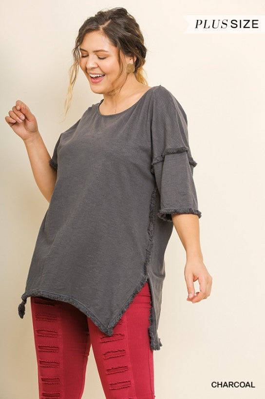 High Low Tunic With Fringed Hems In Plus Size by Umgee La Boutique