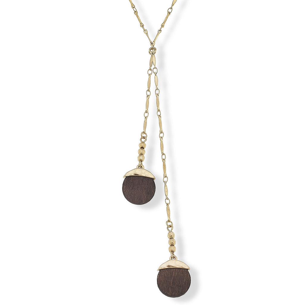 "Canvas Style Jewelry Wren Y Necklace in Carved Wood, 18"" Adjustable"