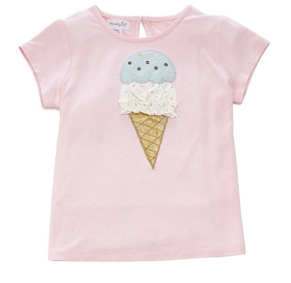 Mud Pie Ice Cream Cone Glitter Shirt Tee 1150259I-M