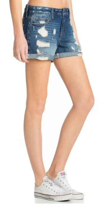 Distressed Boyfriend Shorts Mid Rise Rolled Hem Cello Jeans