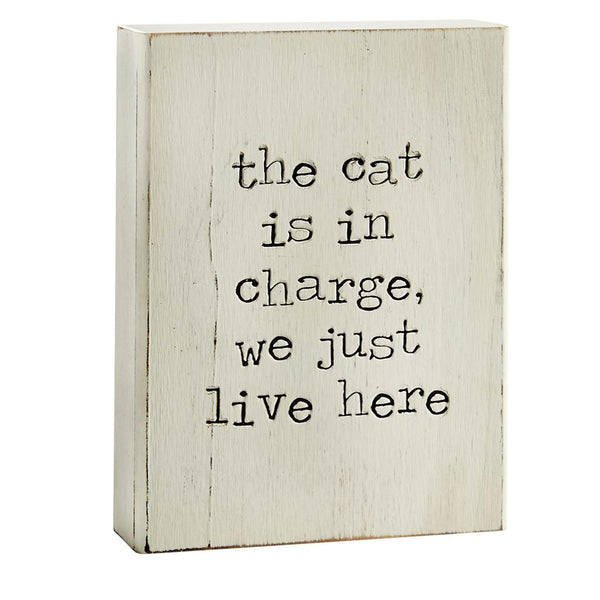 Mud Pie The Cat Is In Charge Engraved Plaque 43400008C