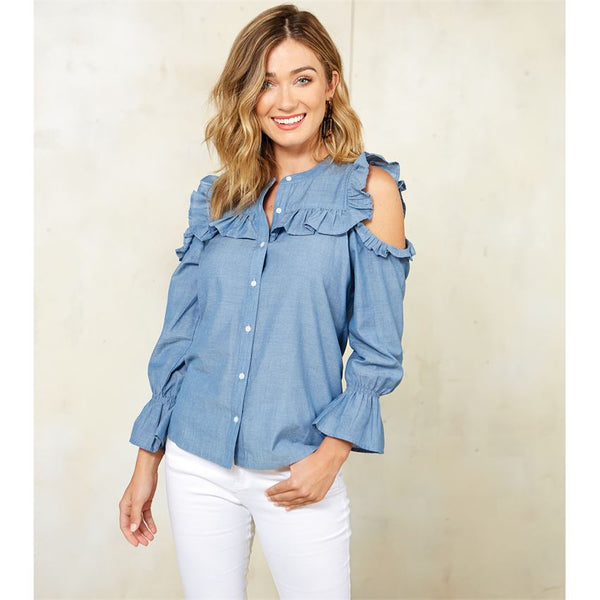 Mud Pie Clarissa Cold Shoulder Ruffle Button-Down Top in Blue or White