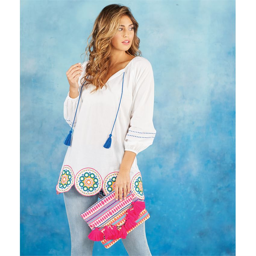 Mud Pie Monaco Embroidered Tunic in White