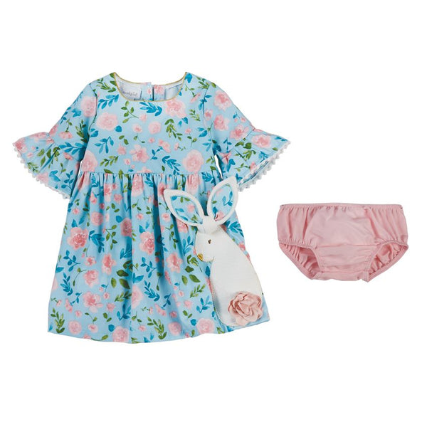 Mud Pie Pastel Floral Bunny Dress with Bloomers