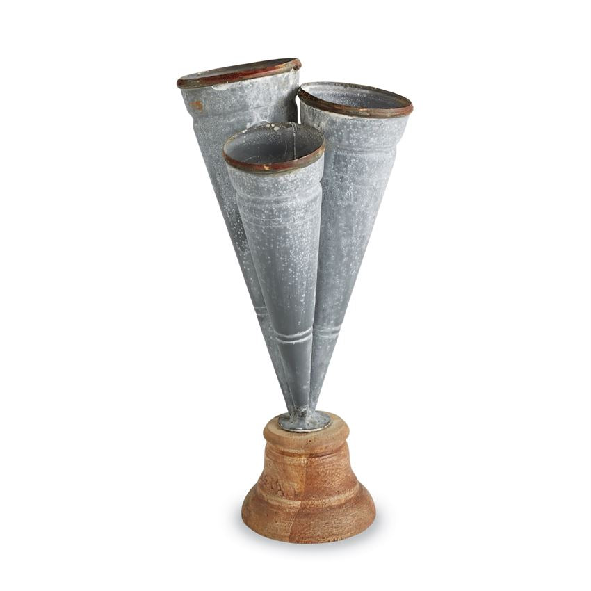 Mud Pie Small Conical Tin Triple Vase