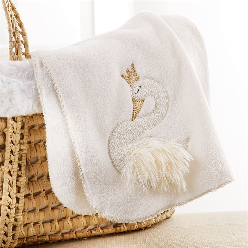 Mud Pie Fleece Swan Blanket