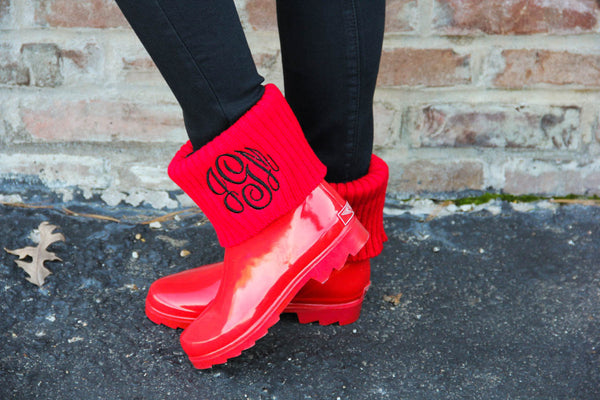 Red Ankle Rainboot w/ Embroidered Monogram