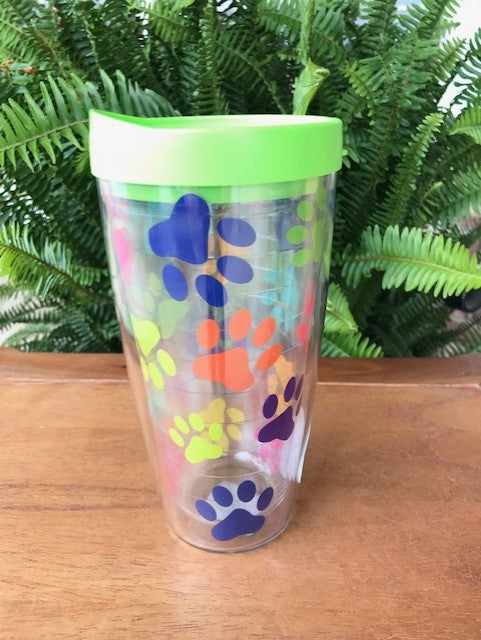 Signature Tumblers Paw Prints on Clear 08-PNP2