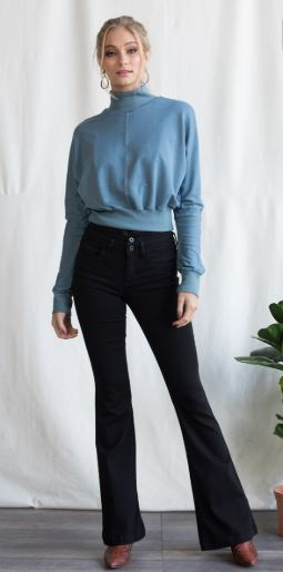 Sneak Peek Double Buttoned High Rise Flare Jeans