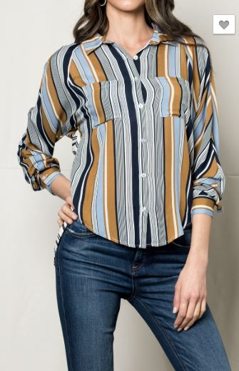 Color Blocked Striped Shirt With Round High Low Hem by Sneak Peak