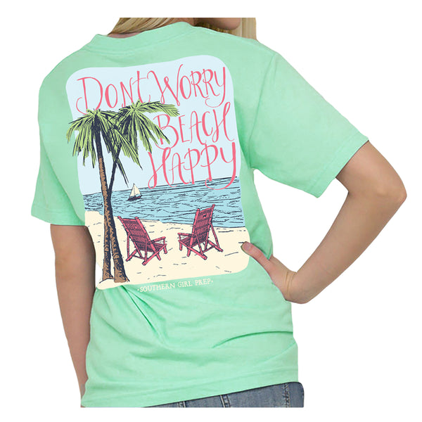 Southern Girl Prep Don't Worry Beach Happy SS Tee Mint SGP1456-SM