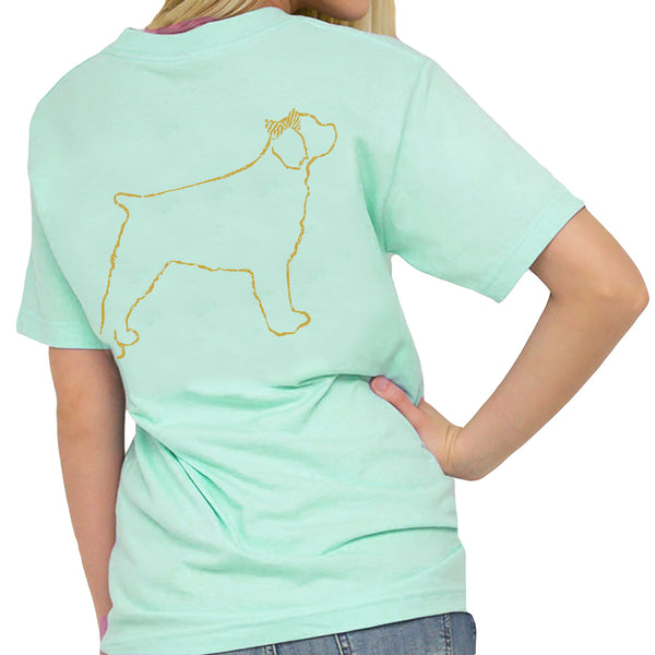 Southern Girl Prep Gold Dog SS Mint Tee SGP1520