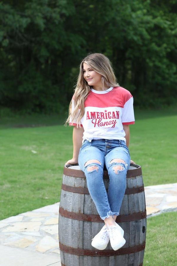 Turnrows American Honey Crew Neck Tee TRW61W69AHP-Red