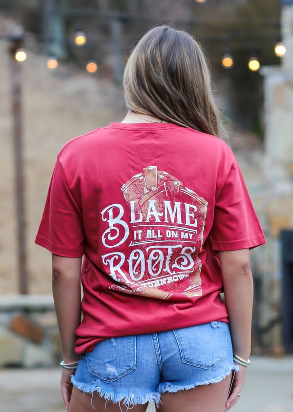 "Turnrows ""Blame It On My Roots"" SS Oversized V-Neck Tee TRW61C50BLR Crimson"