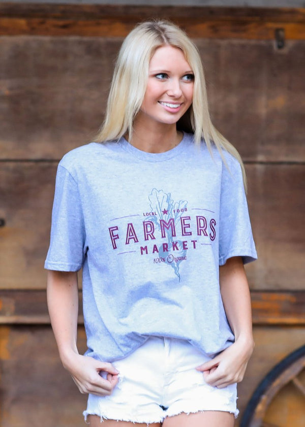 "Turnrows ""Farmers Market"" SS Crew Neck Tee TRW61A04MKT Heather Gray"